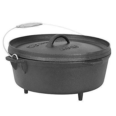 Winterial 6 Quart Cast Iron Camping Dutch Oven Camping Cookware Durable