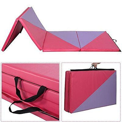 "4'x10'x2"" Gymnastics Mat Thick Folding Panel Gym Home Exercise Pink/Purple New"