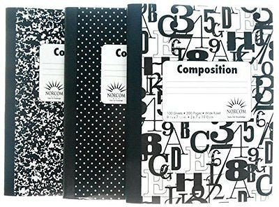 "(Pack of 3) ""Wide Ruled"" Black and White Composition Notebooks"