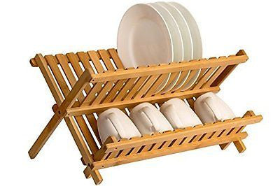 Saganizer wooden dish rack plate rack Collapsible Compact dish drying rack