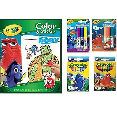 Crayola Finding Dory Color and Sticker Book, Crayons and Markers