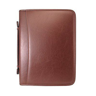 Zippered Executive Ring Binder Portfolio, With Built In Calculator