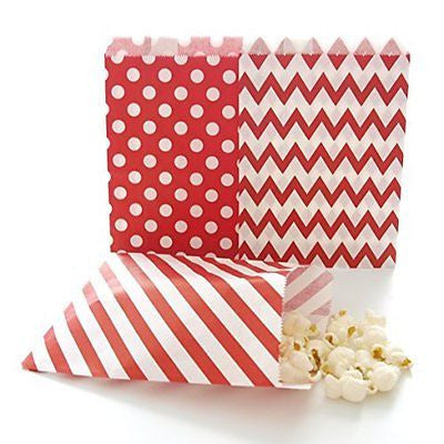 Red Party Bags, Paper Christmas Candy Treat Bags, Holiday Wedding Favor Gift