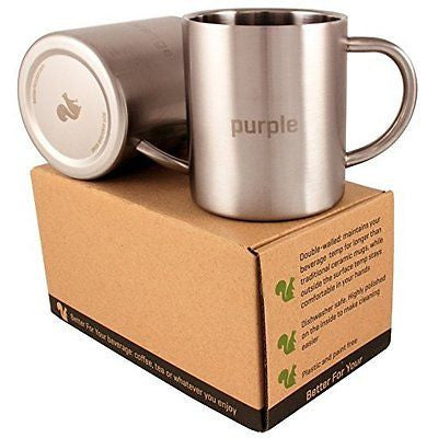 Stainless Steel Double Wall Coffee Mugs Set of 2  13.5oz