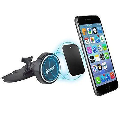 Car Mount, Ipow Universal Cd Slot Magnetic Phone Car Mount Holder Cradle for Any