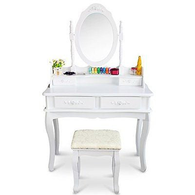 Tribesigns Makeup Vanity Table Set Bedroom Dressing Table with Stool and Mirror