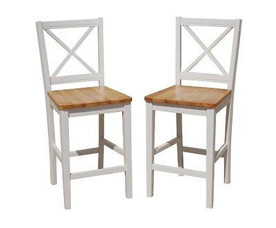TMS 24 inch Virginia Cross Back Stools (Set of 2) White/natural