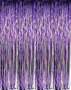 GIFTEXPRESS ? Metallic Purple Foil Fringe Curtain set of 2/Photo Backdrop