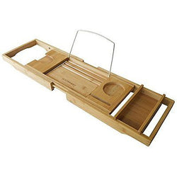 Bamboo Bathtub Caddy with Adjustable Sides Wine Glass Holder and Reading Rack