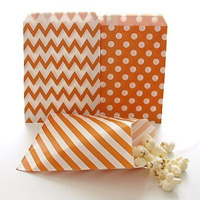 Orange Goodie Bags, Halloween Candy Treat Bags, Mini Favor Bags, Kids Party