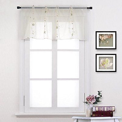 Nicetown Spring Blooms Voile - Floral Embroidered Sheer Window Treatment