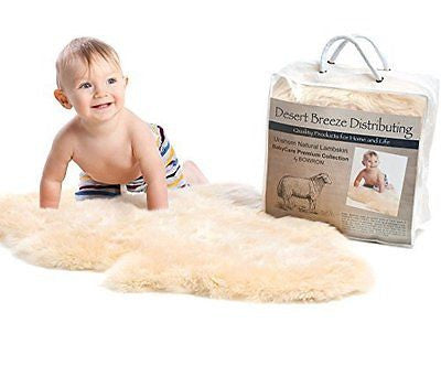 New Zealand UnShorn Lambskin Baby Rug, Silky Soft, Top Grade Quality Sheepskin