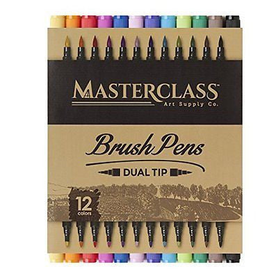 Masterclass Premium Dual Tip Brush Markers, Non-Toxic Water Based Double Tip