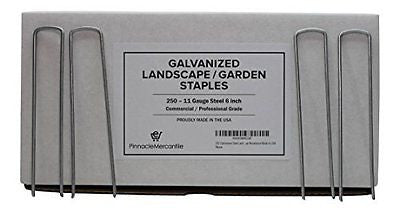 250 Galvanized Steel Landscape Garden Staples / Strong Professional Grade Rust