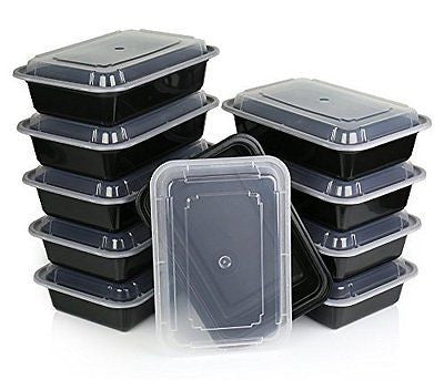 Lunch Box Food Storage Container with Lid Lunch Tray Bento Box 28 ounce 10 pack