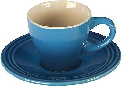 Le Creuset Stoneware Set of 2 Espresso Cups and Saucers Marseille