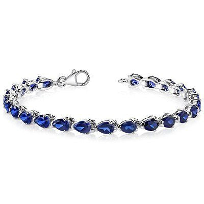 Pear Shape Created Blue Sapphire Gemstone Bracelet in Sterling Silver Rhodium
