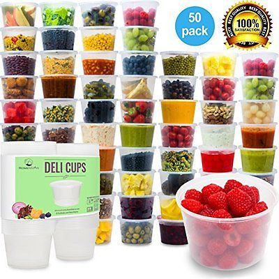 Plastic Food Storage Containers with Lids - Restaurant Deli Cups (15.2oz 50pcs)