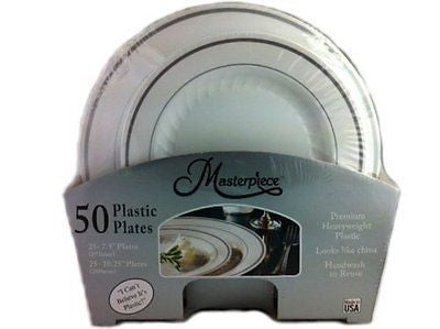 Masterpiece Heavyweight Plastic Plates: 25 Dinner Plates and 25 Salad Plates