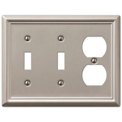 Decorative Wall Switch Outlet Cover Plates (Brushed Nickel, 2 Toggle 1 Duplex)