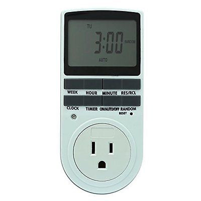 niceEshop Plug-In Digital Timer Switch with 3-Prong Grounded Outlet, Large LCD