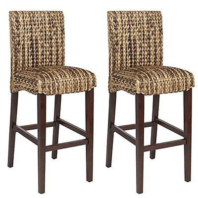 Best Choice Product BCP Set of (2) Hand Woven Seagrass Bar Stools Mahogany