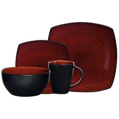 Soho Lounge 16-Piece Square Reactive Glaze Dinnerware Set  Red