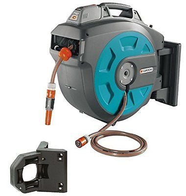 GARDENA Retractable Battery Operated Hose Reel With Convenient Hose Guide