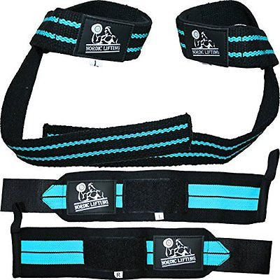 Wrist Wraps + Lifting Straps Bundle (2 Pairs) for Weightlifting Crossfit