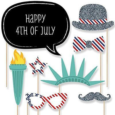 4th of July - Photo Booth Props Kit - 20 Count