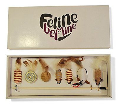 Feline Be Mine Premium Cat Toy Collection in Gift Box - Cat Wand Deluxe- Quality