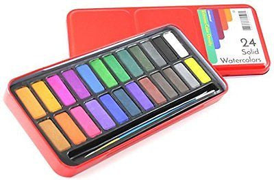 Watercolor Paint Set of 24 Solid Cake Colors with Bonus Paintbrush - High Color