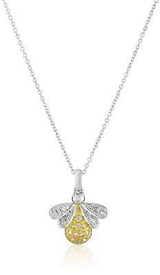 Two-Tone Diamond-Accented Honey Bee Pendant Necklace