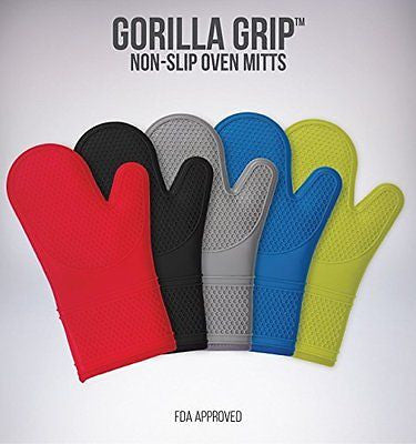 (Set of 2) The Original GORILLA GRIP Non-Slip Silicone Oven Mitt, Black- Set of