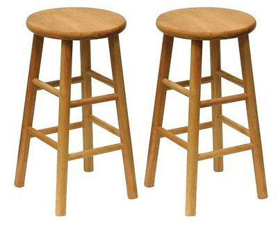 Winsome Wood Wood 24-Inch Counter Stools Set of 2 Natural Finish