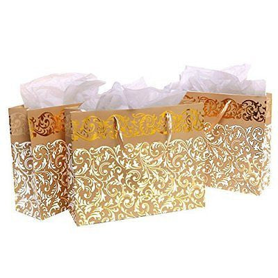 MyGift Gold Metallic Foil Party Gift Bags and Tissues (Set of 3)