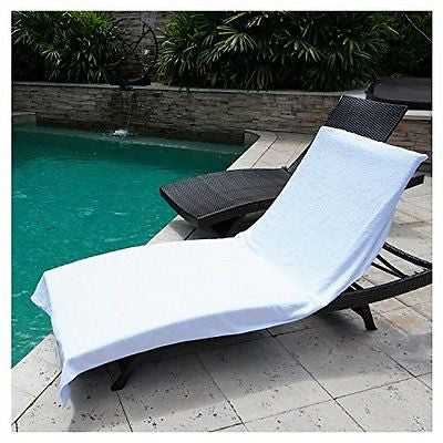 "Chaise Lounge Chair Cover Towel (40"" x 90"") - Fitted Elastic Pocket Won't Slide"