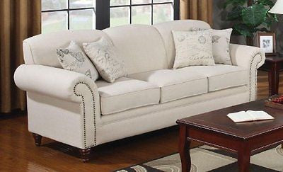 Coaster 502511 Norah Rolled Arm Sofa In Oatmeal Tone Linen Blend Upholstery