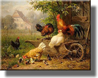 Chicken on Wheelbarrow Picture on Stretched Canvas Wall Art D¨¦cor Ready to Hang