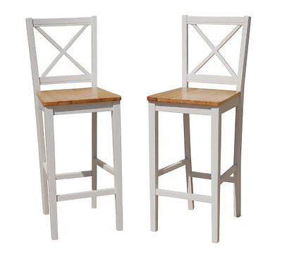 TMS 30 inch Virginia Cross Back Stools (Set of 2) White/natural