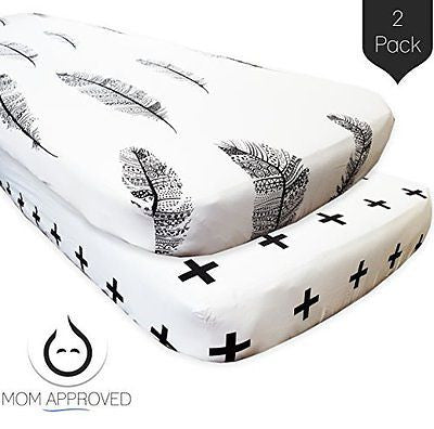 Baby Fitted Crib Sheets - 2 Pack Modern - Soft Cotton Crib Mattress Sheet