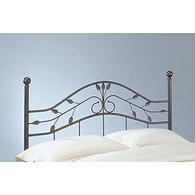 Sycamore Headboard with Arched Metal Panel and Leaf Pattern Design