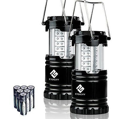 2 Pack Portable Outdoor LED Camping Lantern Flashlight with 6 AA Batteries