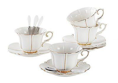 Porcelain Tea Cup and Saucer Coffee Cup Set with Saucer and Spoon (Set of 4)