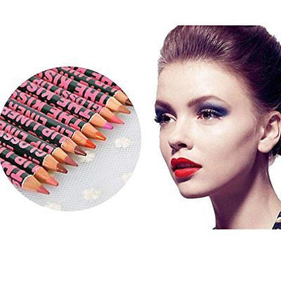 OVERMAL Hot 12PCS Waterproof Lip Liner Pencil Pen Makeup Cosmetic lipstick