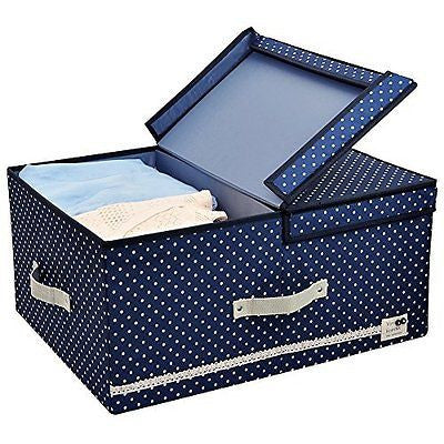 Thick Polyester Storage Clothes Organizer Box with Lid and Removable Divider