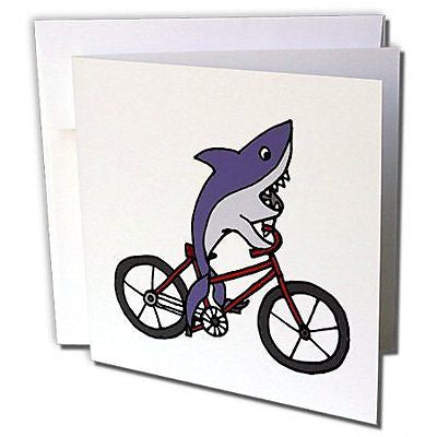 All Smiles Art At the Beach - Funny Shark Riding Bicycle - 1 Greeting Card