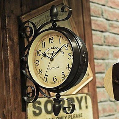Ustide Double-sided Clock European Retro Nostalgic Wall Hanging Decorations