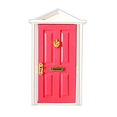 1:12 Dolls House Miniature Rose Red Wooden Steepletop Door with Hardware