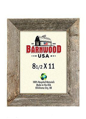 "BarnwoodUSA Rustic 8.5x11 Picture Frame With 2"" Wide Molding - 100% Reclaimed"